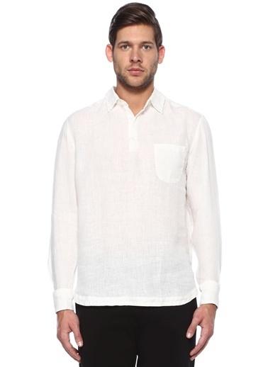 Barena %100 Keten Polo Yaka Sweatshirt Beyaz